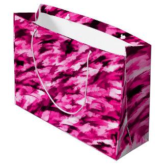 ショッキングピンクのデザイナー迷彩柄 ラージペーパーバッグ