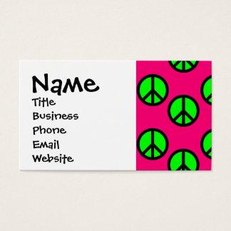 ショッキングピンクのネオン緑のピースサインのヒッピーパターン 名刺
