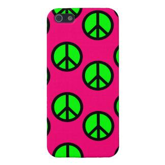 ショッキングピンクのネオン緑のピースサインのヒッピーパターン iPhone 5 カバー