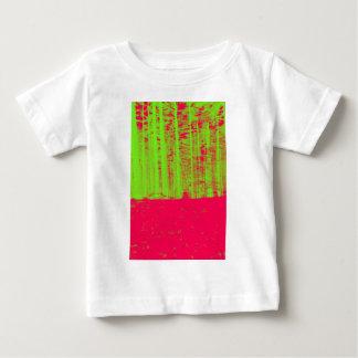 ショッキングピンクのネオン緑のポストの近代美術のプリント ベビーTシャツ