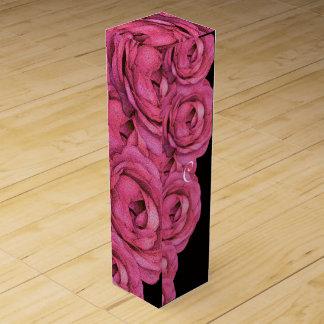 ショッキングピンクのバラ ワインギフトボックス