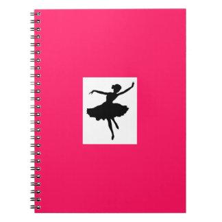 ショッキングピンクのバレリーナのノート ノートブック