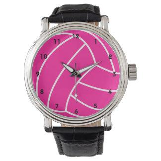 ショッキングピンクのバレーボール 腕時計