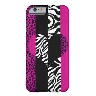 ショッキングピンクのヒョウおよびシマウマ動物のハート iPhone 6 ベアリーゼアケース