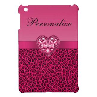 ショッキングピンクのヒョウのプリント及びきらきら光るなハート iPad MINI CASE