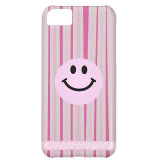 ショッキングピンクのピンクのスマイリーフェイスは縞で飾ります iPhone5Cケース