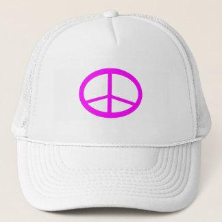 ショッキングピンクのピースサインの帽子 キャップ