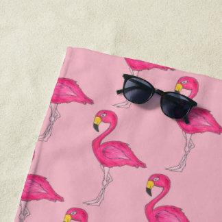 ショッキングピンクのフラミンゴの熱帯島の鳥のフラミンゴ ビーチタオル