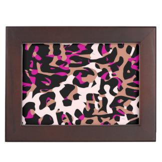 ショッキングピンクのブラウンのチータの抽象芸術 ジュエリーボックス