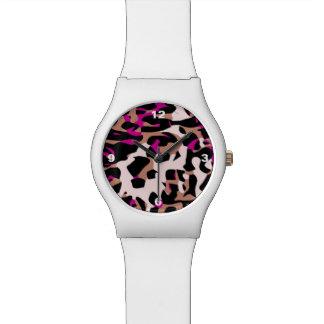 ショッキングピンクのブラウンのチータの抽象芸術 腕時計