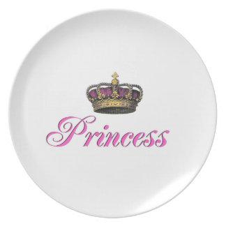 ショッキングピンクのプリンセスの王冠 プレート