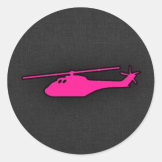 ショッキングピンクのヘリコプター ラウンドシール