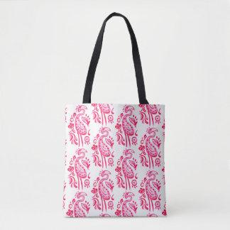 ショッキングピンクのペイズリーのフラミンゴ トートバッグ