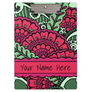 ショッキングピンクのミントの緑の禅の曼荼羅の芸術の教室の名前 クリップボード