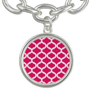 ショッキングピンクのモトッコ人パターン チャームブレス