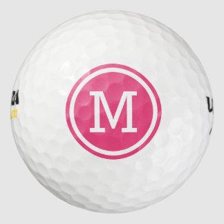 ショッキングピンクのモノグラムの名前入りなゴルフ・ボール ゴルフボール