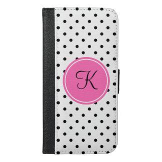 ショッキングピンクのモノグラムの白黒水玉模様 iPhone 6/6S PLUS ウォレットケース