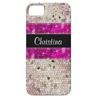 ショッキングピンクのラインストーンのグリッターのきらきら光るなダイヤモンドのスパンコール iPhone SE/5/5s ケース