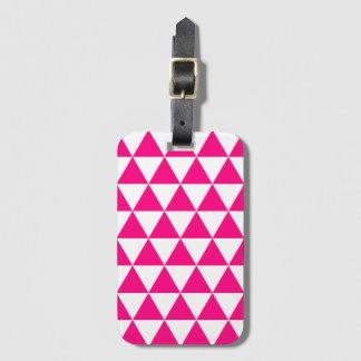 ショッキングピンクの三角形パターン手荷物のラベル ラゲッジタグ
