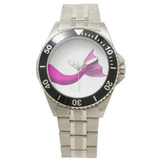 ショッキングピンクの人魚の尾 腕時計
