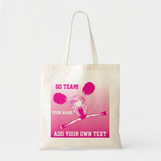 ショッキングピンクの元気づけるチアリーダーの女の子 トートバッグ