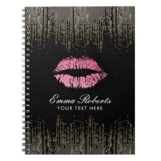ショッキングピンクの唇の粋な黒及び金ゴールドの紙吹雪 ノートブック