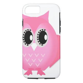 ショッキングピンクの堅いネオンHootieのやじり声フクロウのiPhone 7の場合 iPhone 8/7ケース