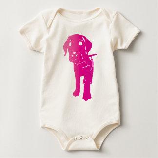ショッキングピンクの子犬! ベビーボディスーツ