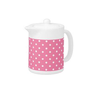 ショッキングピンクの小さく白い水玉模様