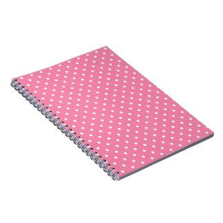 ショッキングピンクの小さく白い水玉模様 ノートブック