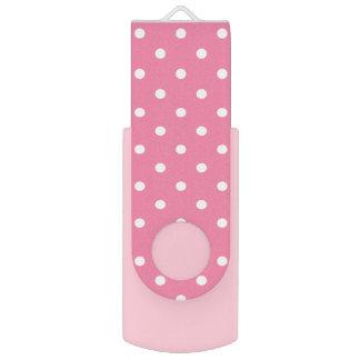 ショッキングピンクの小さく白い水玉模様 USBフラッシュドライブ