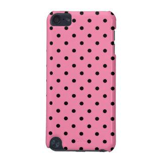 ショッキングピンクの小さく黒い水玉模様 iPod TOUCH 5G ケース
