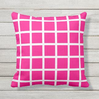 ショッキングピンクの屋外の枕-格子点検 クッション