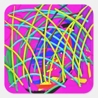ショッキングピンクの抽象芸術のガーリーな落書きのデザインのノベルティのギフト スクエアシール