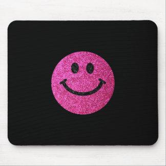 ショッキングピンクの模造のなグリッターのスマイリーフェイス マウスパッド