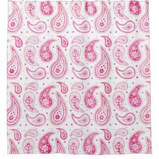ショッキングピンクの水彩画のペイズリーパターンシャワー・カーテン シャワーカーテン