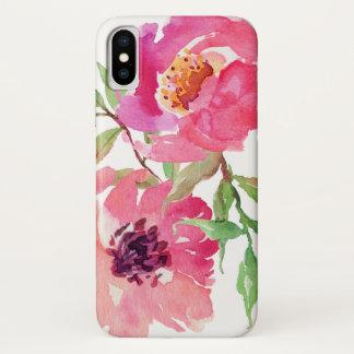 ショッキングピンクの水彩画の花柄パターン iPhone X ケース