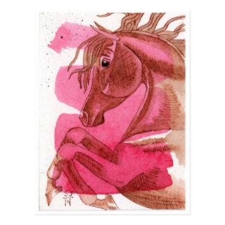 ショッキングピンクの水彩画の馬の養育 ポストカード
