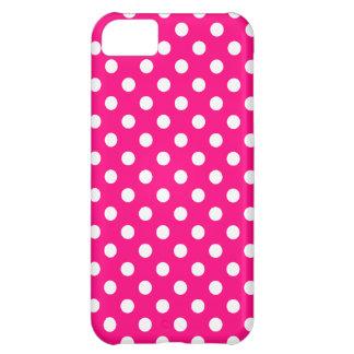 ショッキングピンクの水玉模様のiPhone 5の場合 iPhone5Cケース
