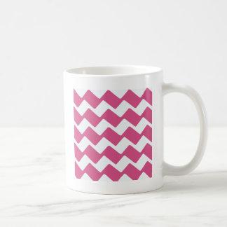 ショッキングピンクの波状のシェブロン コーヒーマグカップ