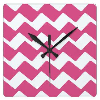 ショッキングピンクの波状のシェブロン スクエア壁時計