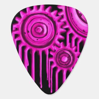 ショッキングピンクの溶けるギアのギターピック ギターピック