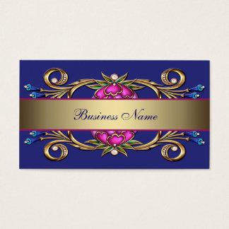 ショッキングピンクの濃紺の金ゴールドの花の渦巻の名刺 名刺