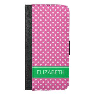 ショッキングピンクの白い水玉模様Emの緑の一流のモノグラム iPhone 6/6s Plus ウォレットケース