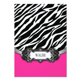 ショッキングピンクの白黒のシマウマの結婚式招待状 カード