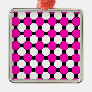 ショッキングピンクの白黒は六角形パターンを平方します メタルオーナメント