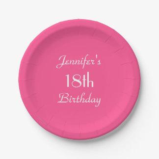 ショッキングピンクの紙皿、第18誕生会 ペーパープレート