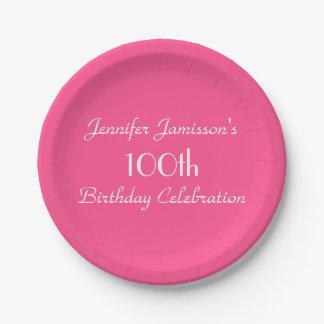 ショッキングピンクの紙皿、100th誕生会 ペーパープレート