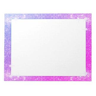 ショッキングピンクの紫色のグリッターの輝きののどの質 ノートパッド