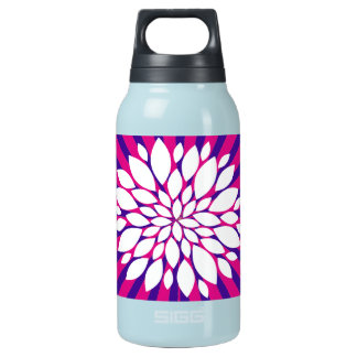 ショッキングピンクの紫色の日が差すこと日曜日は白い花を放射します 断熱ウォーターボトル